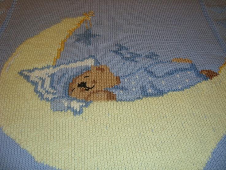 Copertina in lana lavorata ai ferri e ricamata a punto maglia [0-6 mesi]