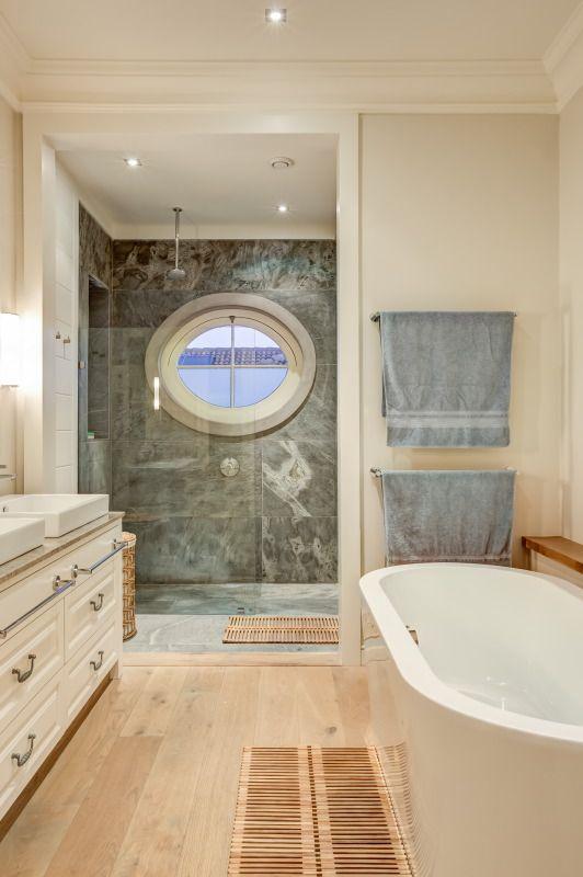 Stone tiled shower