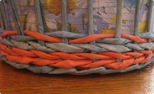 Мастер-класс Поделка изделие Плетение Плошка-лукошко крашеные трубочки Трубочки бумажные фото 8