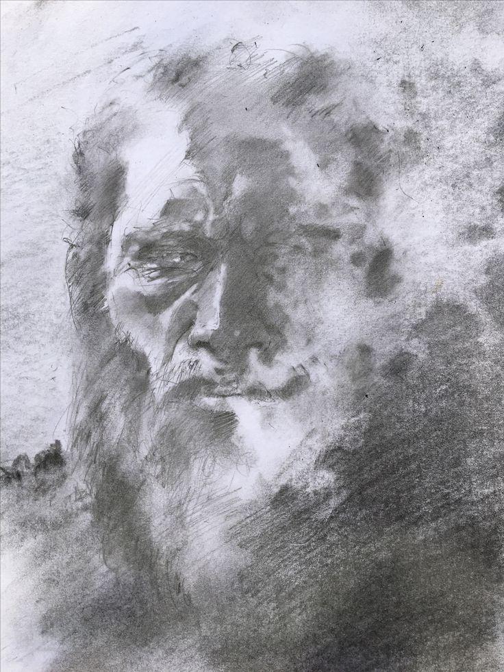 Man smoking. Pencil, charcoal.