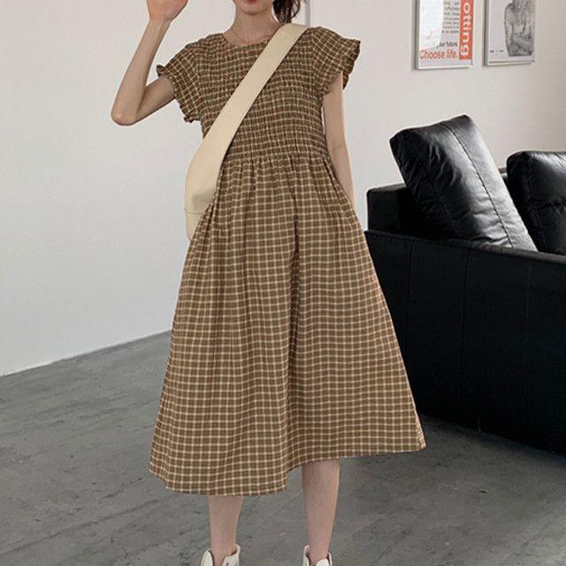 チェック柄ワンピース 半袖 aライン 綿 シンプル ドレス風 可愛い 通勤 通学 ブラウン フリー 2 100