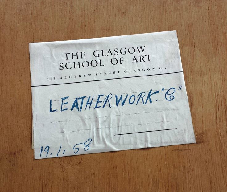 This label is found on the back of the leatherwork display case. Archive reference: NMC/1627