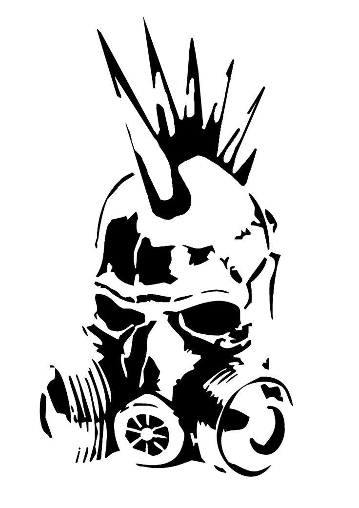 Punk Gas Mask Stencil by SkayP | Stenciler | Pinterest ... - Pochoir Tete De Mort