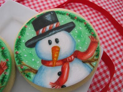 Jenni Price illustration: Painted Cookies: Color Paintings, Paintings Cookies, Hands Paintings, Christmas Cookies, Cookies Edible, Design Paintings, Cookies Decor Wint, Paintings Snowmen, Snowman Cookies