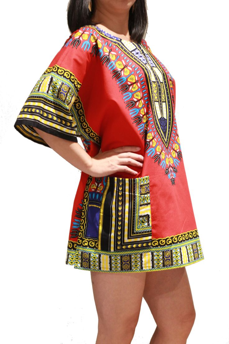 Traditional African Dashiki Shirt Dress Unisex for Men or Women - Red - Free Size