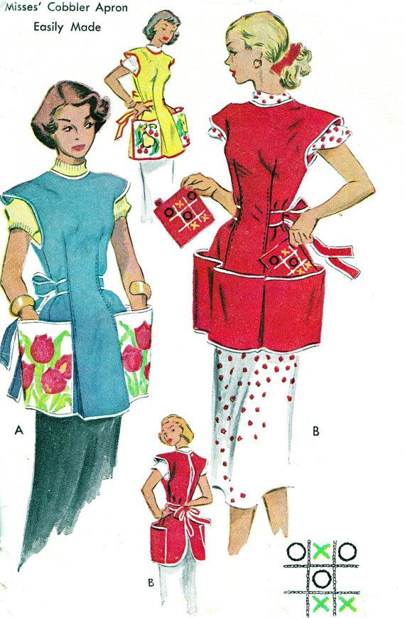 1950s Apron Pattern McCalls 1713 Womens Full Embroidered Cobbler Apron Patch Pockets Potholder Vintage Sewing Pattern Bust 32 via Etsy