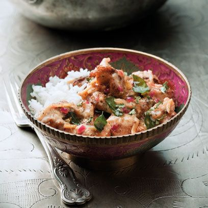 Coconut and Ginger Chicken Stir-Fry  This is a South Indian take on a stir-fry with just a tiny bit of sauce to coat the chicken. It goes well with dal or rice, the perfect combination
