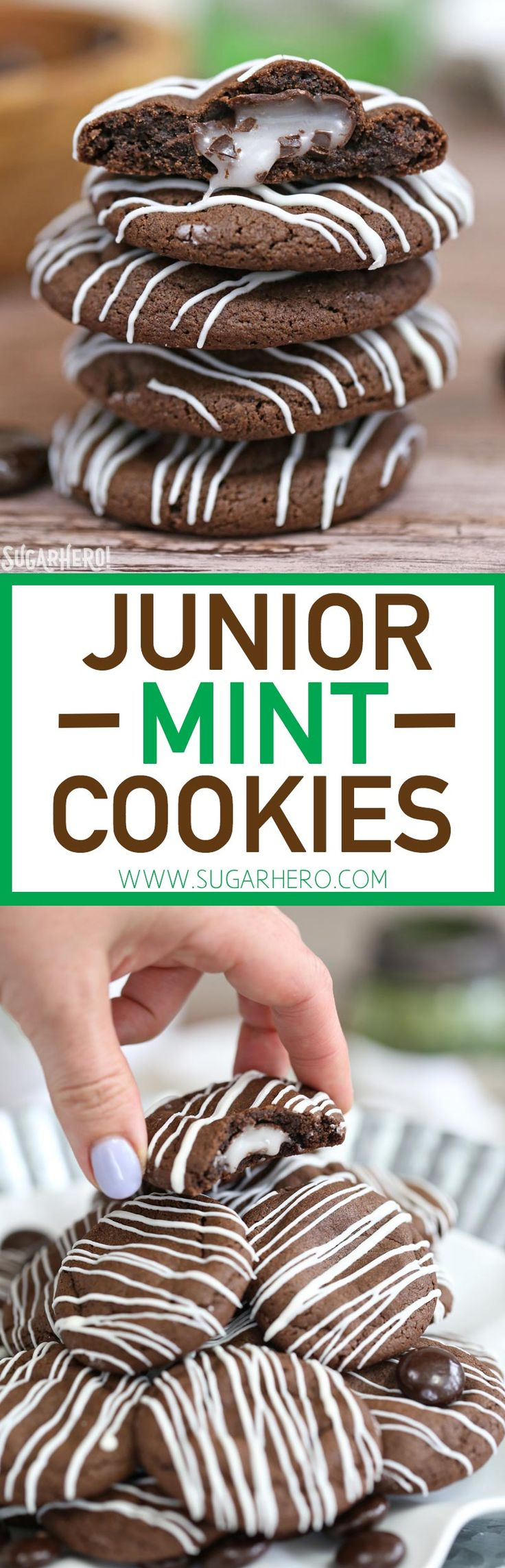 Junior Mint Cookies are soft and chewy chocolate-mint cookies, with a Junior Mint baked right into the center! | From http://SugarHero.com