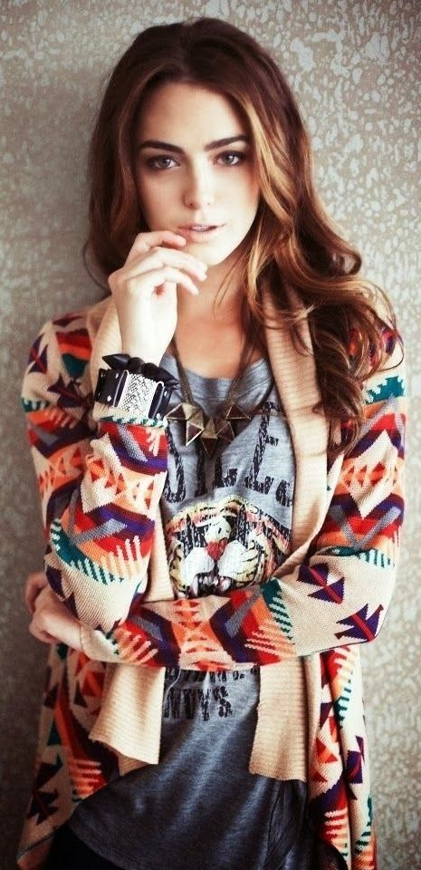 Colorful Aztec Print Cardigan | Fashionista Tribe