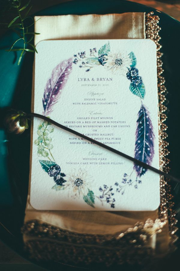 feather wedding invitations, photo by Off Beet Productions http://ruffledblog.com/bohemian-nouveau-styled-wedding #weddinginvitations #stationery