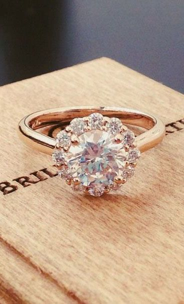 Lotus Flower Diamond Ring Rose Gold