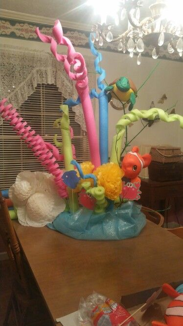 Coral reef made with pool noodles Kabob sticks and foam ...