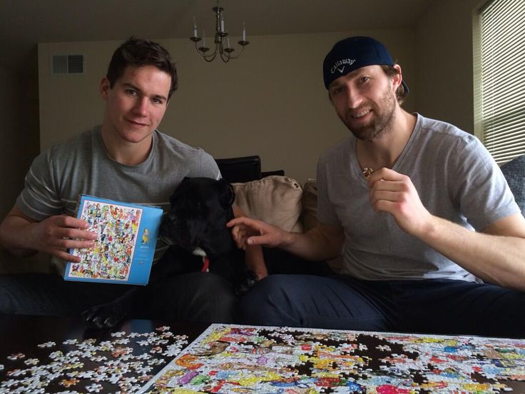 Washington Capitals: Michael Latta, Tyson Strachan, and Strachan's dog, Raja, hang out
