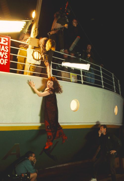 Leonardo DiCaprio and Kate Winslet behind the scenes of Titanic (1997)