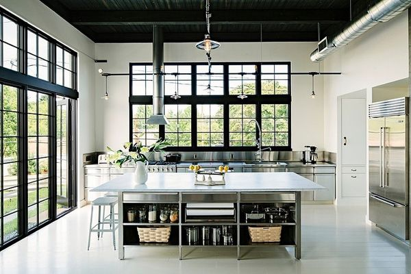 Modern kitchen - windows, stainless steel, white, high ceilings, clean / simple design