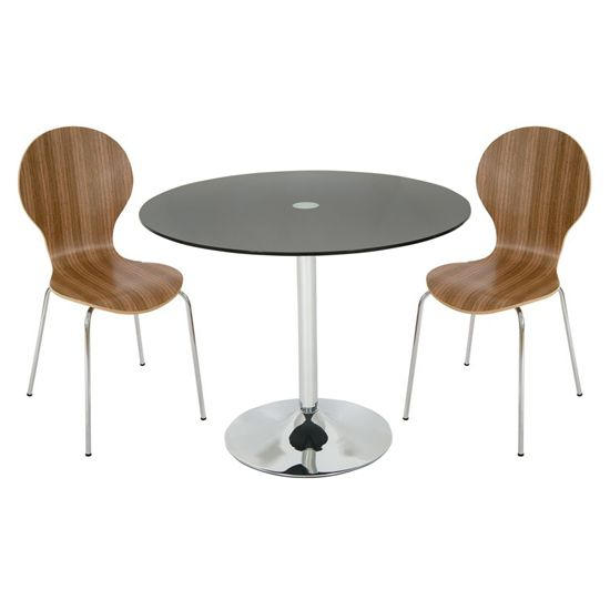 roma round black glass dining table with 4 walnut chairs