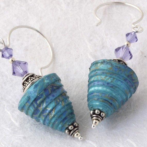 Paper beads earrings - The paper bead is made from Japanese paper, varnished many times and finished with a wax coating for a soft sheen. (photo only)