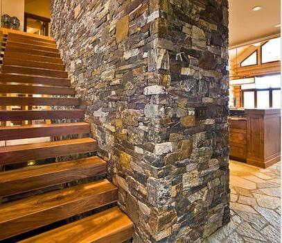 Escalera de madera escaleras pinterest for Escaleras interiores casas rusticas