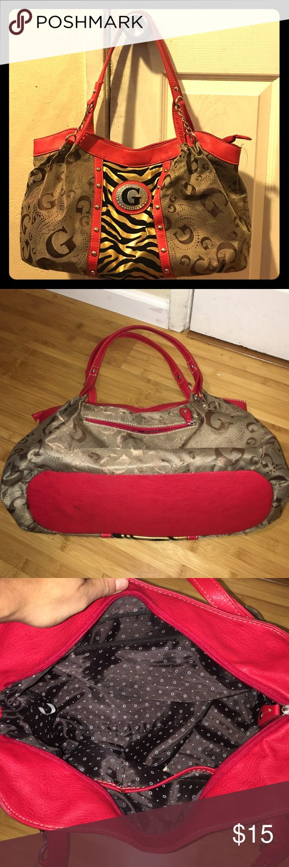 Beautiful large size bag Really beautiful faux leather bag. Letter G is made with metal and surround is velvet leopard print. Inside is nylon and very clean. Only one flaw that showed in the picture but inside the strap so when you wear it, it doesn't show. Overall very good condition. Bags Shoulder Bags