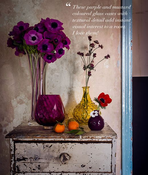 Florals and coloured glass vases