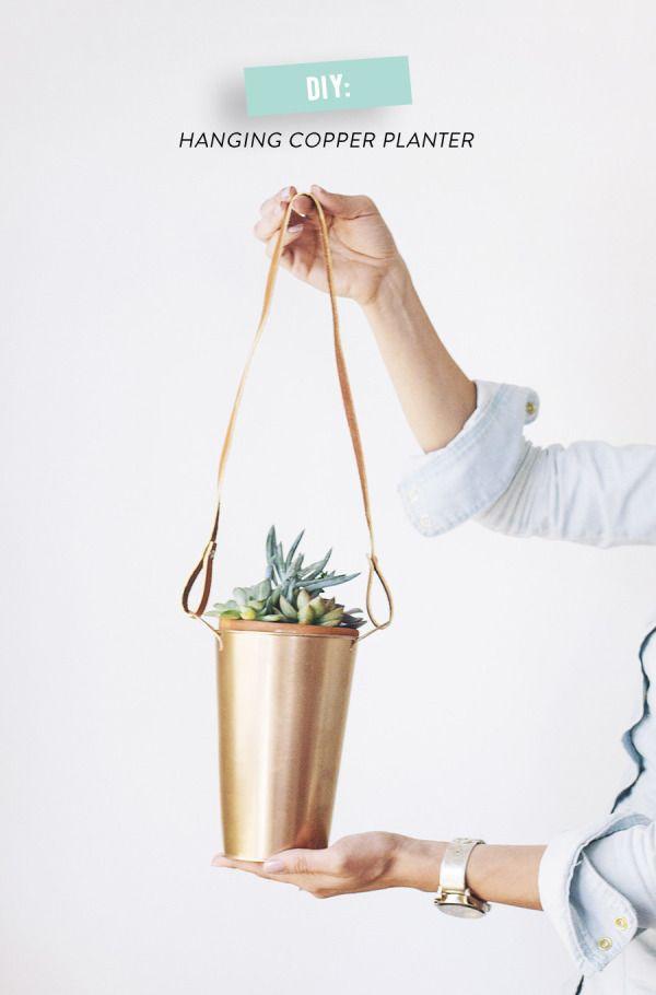 DIY copper hanging plants