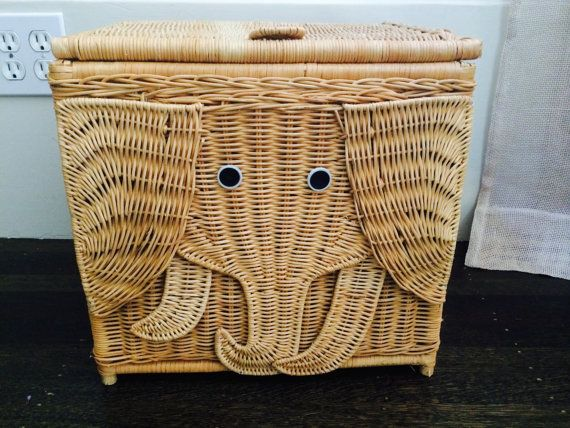 Vintage Rattan Wicker Elephant Basket Boho Children 39 S