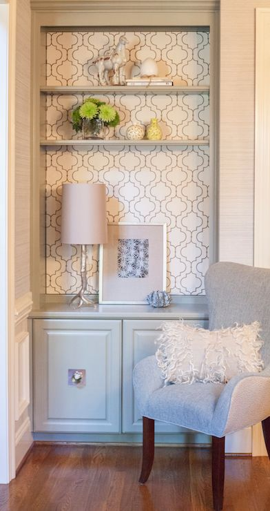 Lucy and Company - living rooms - Arteriors Silver Branch Iron Table Lamp, gray built-ins, gray bookcase, built-ins, built-in bookcase, gray...