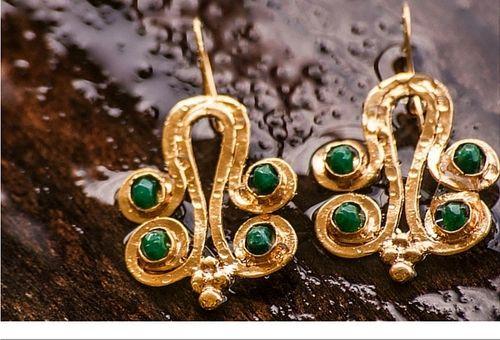 sneakers and pearls, one off earrings, gold earrings with semi precious stones, , green jade stones trending now.jpg