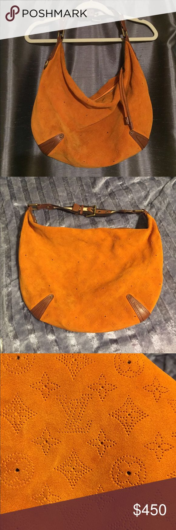 """Luis Vuitton orange suede Onatah bag Limited edition Louis Vuitton Mais Onatah Hobo bag. It is made of soft orange suede that is perforated with the LV Monogram pattern and the fleur-de-lis design. It comes with an adjustable shoulder strap and a textile print, Jacquard-lined interior with a patch pocket.  NO DUST BAG. Few slight stains as pictured. Could use cleaning.  Measurements: Handle Drop 8-9"""", Height 12.5"""", Width 18"""", Depth  Model: Onatah Hobo Louis Vuitton Bags Hobos"""