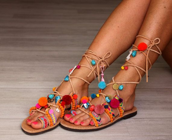 Handmade leather sandals, Hawaii   A classic old-time greek sandal made by genuine leather, decorated with colourful friendship bracelets, pom