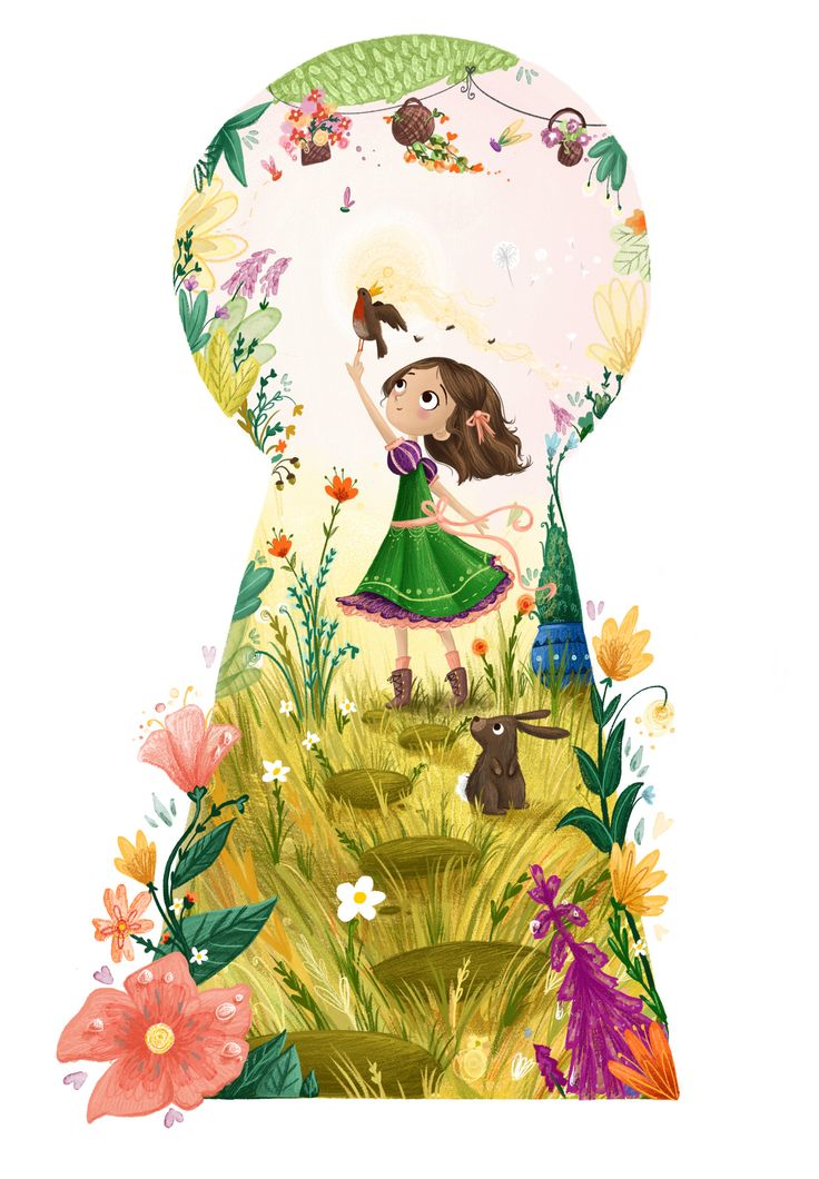Through the Keyhole. Secret Garden Illustration: Mary and the Red-breasted Robin by Lucy Fleming
