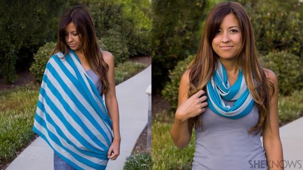 Make breastfeeding on the go look good with this DIY infinity nursing scarf that is a breeze to make with your favorite jersey-knit fabric.