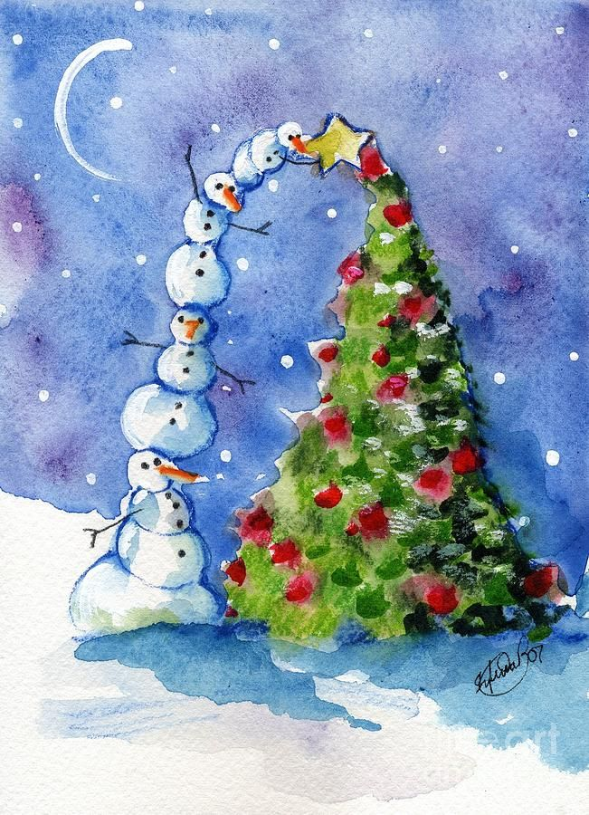 watercolor christmas tree cards | Christmas Tree Painting by Sylvia Pimental - Snowman Christmas Tree ...