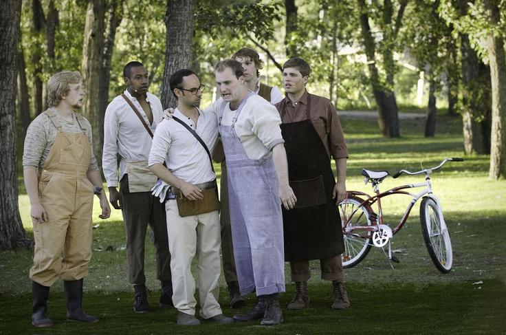 A Midsummer Night's Dream - Shakespeare in the Park. Photo by Trudie Lee; (left to right) Steven Evanik, Jesse Ajohn, Jason Mancini, Grayson Ogle, Caleb Ellsworth-Clark, Brendan Andrews.