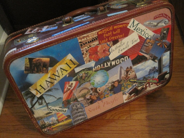 Decoupage brochure's from a travel agency onto an old vintage suitcase.