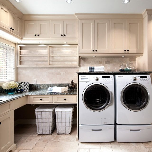 Washer Dryer Pedestal Laundry Room Traditional with Blinds Counter Cove Lighting Dark Hardware Front Loading Washer