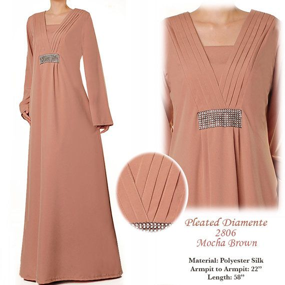 2806 Pleated VNeck Diamente Loose Abaya Long Sleeves by MissMode21