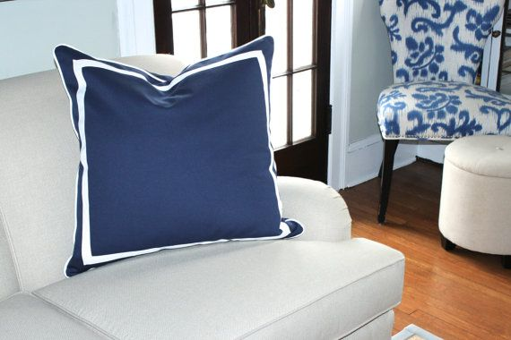 Navy Blue Linen Pillow Cover with White by ThePillowStudioShop, $75.00