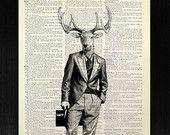 Deer ART Gift, Man Home OFFICE Decor, Stag DEER Wall Art, Cute Deer Illustration, Cool Gentleman Deer Painting Poster Artwork Fun Decoration
