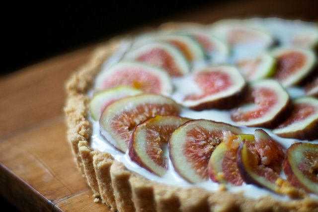 Fresh Fig & Yogurt Tart with Almond Crust
