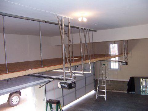 9 best images about garage storage ideas on pinterest piece of cakes overhead garage storage - Garage storage loft plans collection ...