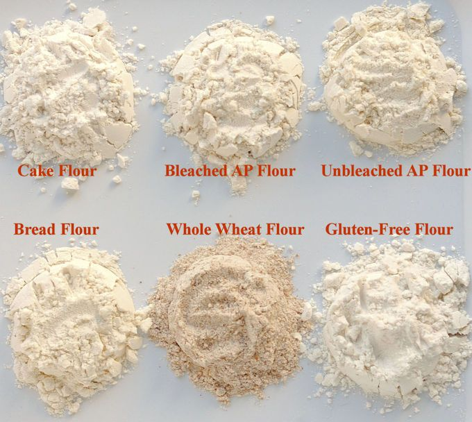 6 types of flour. cake batter flour