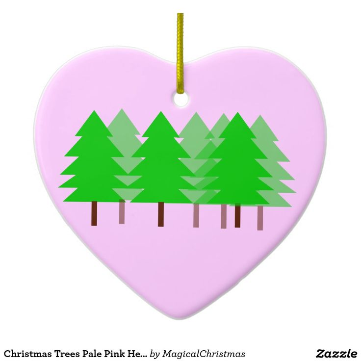 Christmas Trees Pale Pink Heart Ornament