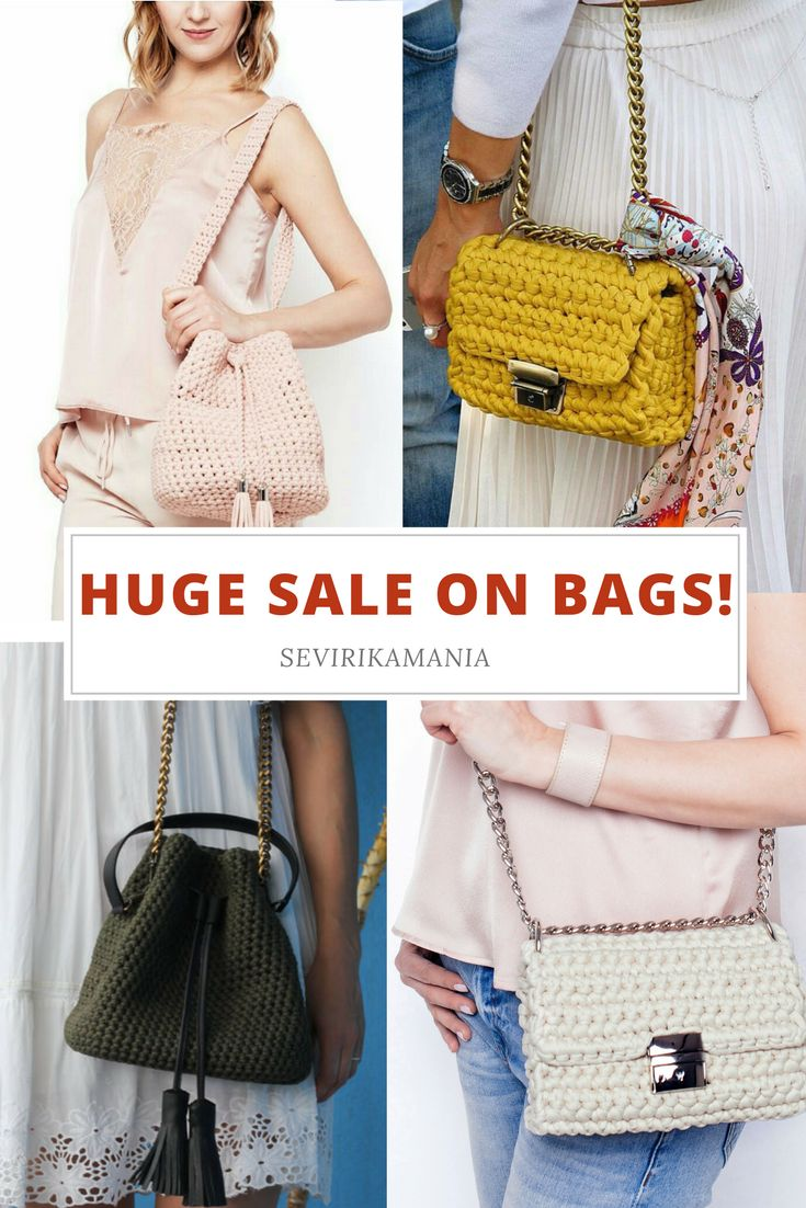 Huge sale on bags by sevrikamania! All crochet bags on sale! Bucket bags, crossbody bags, crochet clutches and top handle bags! 20% off sale!