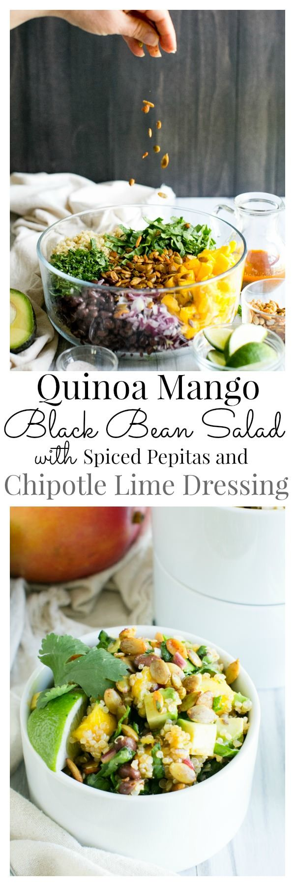 Quinoa Mango Black Bean Salad with Smoky Pepitas and Chipotle Lime Vinaigrette | Vanilla And Bean