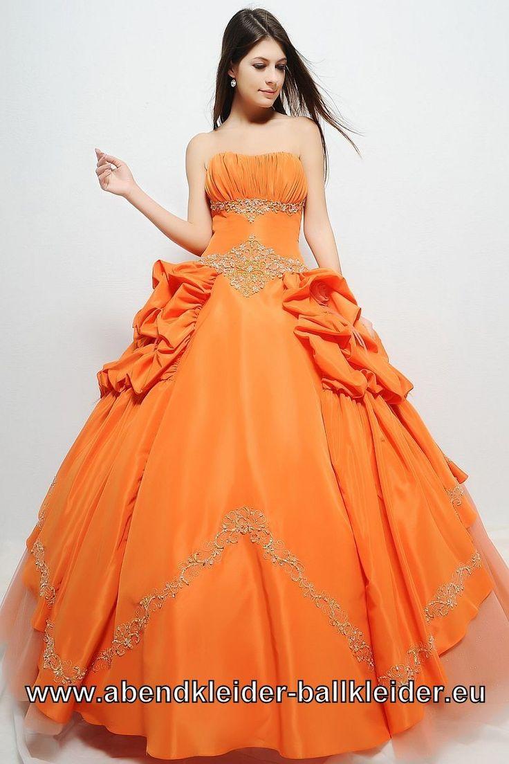 Orangenes Ballkleid Abendkleid mit Raffungen