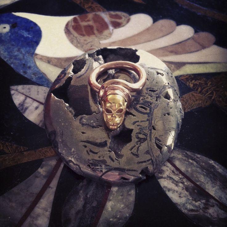 PUSHMATAaHA/ Skull Knot Ring/ Rose Gold with Gold