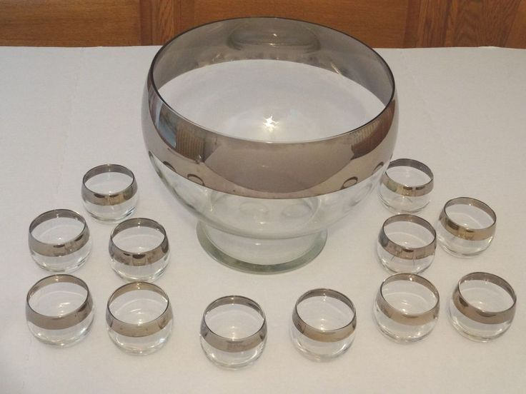 Vtg Dorothy Thorpe Style PUNCH BOWL w/12 Roly Poly Silver Rim Glasses MidCentury