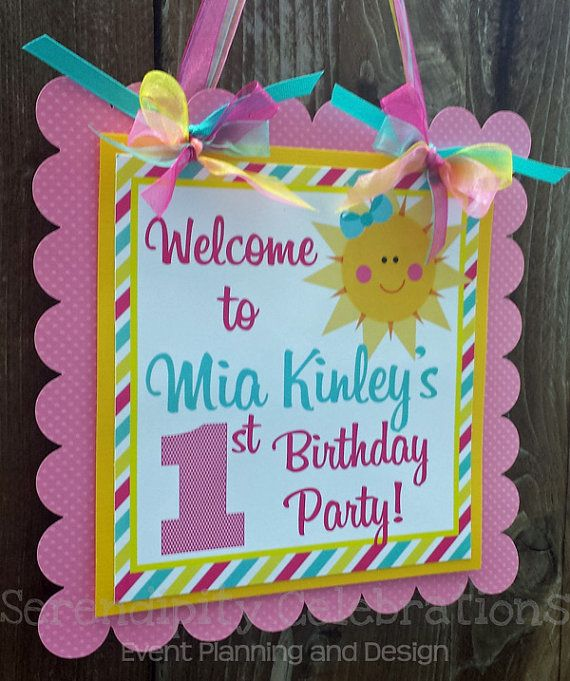 Personalized Door Sign: You Are My Sunshine -Party Sign -Hanging Sign -Baby Shower -Birthday -Sun -Pink Turquoise Yellow Chevron Stripes