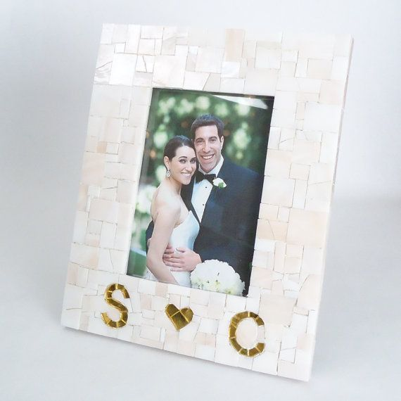 custom gold and blush wedding picture frame w couples initials heart personalized engagement gift unique wedding gift 4x6 5x7 8x10